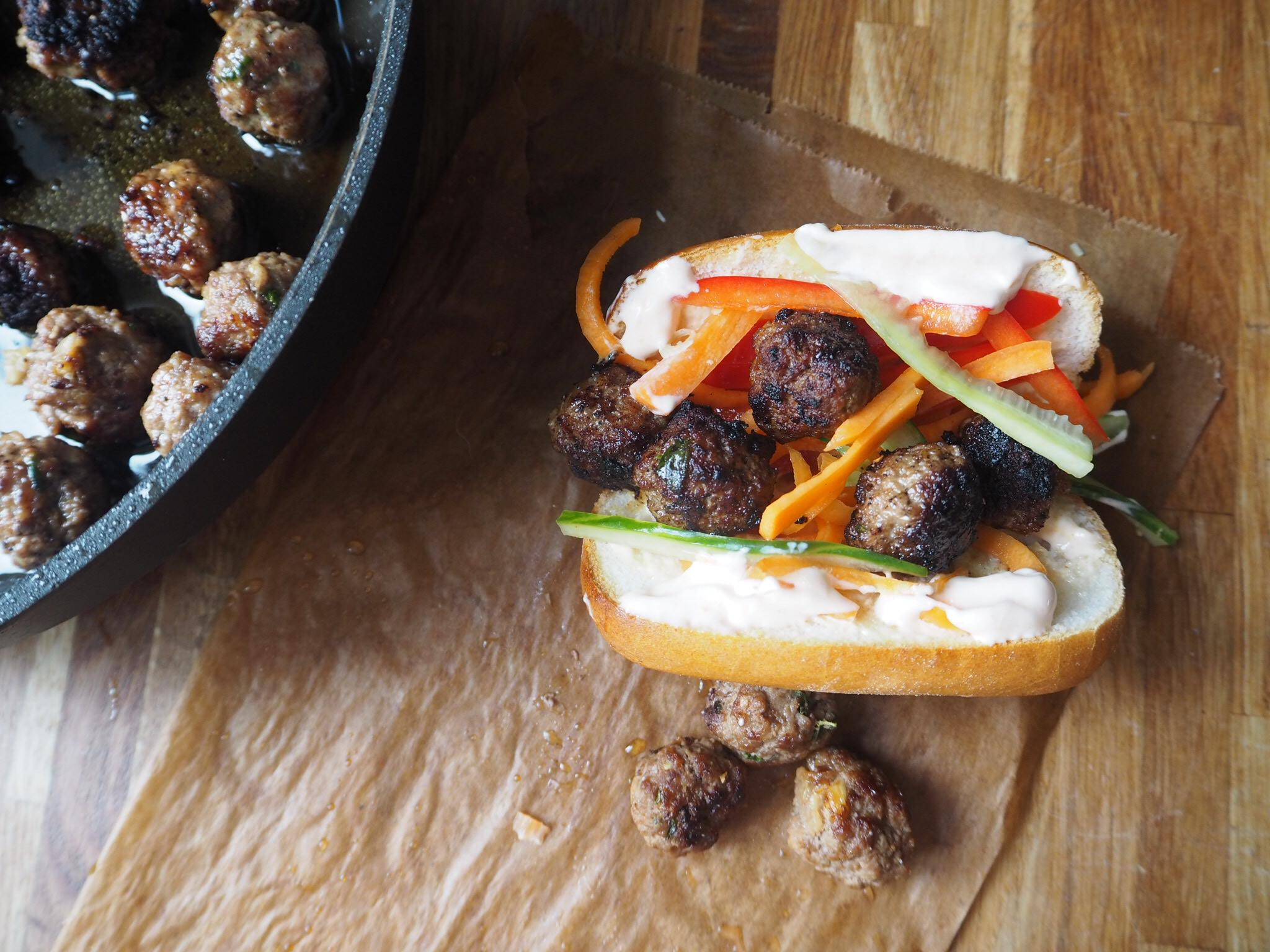 Glutenfri meatball sandwich